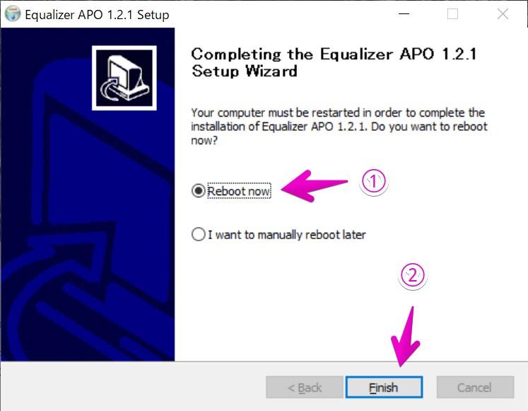 Equalizer APOのインストール完了画面