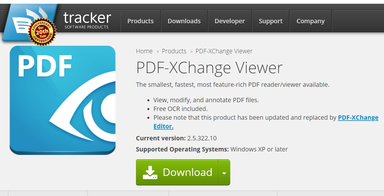 PDF-XChange Viewer公式サイト