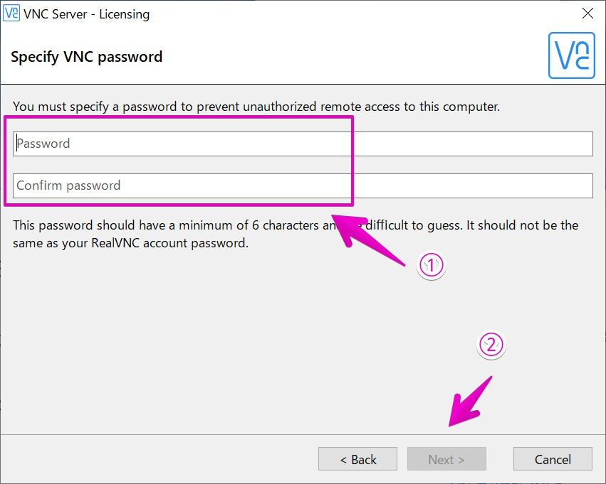 RealVNCアクセスパスワード