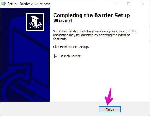 「Barrier」インストール完了