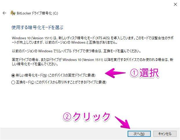 「BitLocker」-「使用する暗号化モードを選ぶ」
